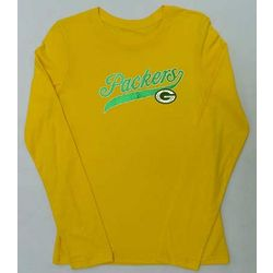 Girl's Gold Glitter Green Bay Packers Long Sleeve T-Shirt