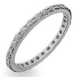 Monica's Thin Sterling Silver CZ Stackable Band