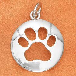 Dog Paw Silver Cutout Charm