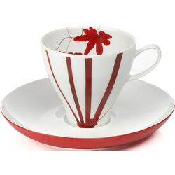 Pure Red Espresso Cup and Saucer