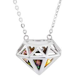 Diamond Shaped Locket with 4mm Round Birthstones Necklace