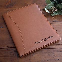 Executive Tan Leather Personalized Portfolio