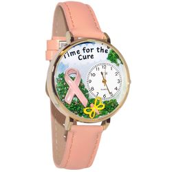 Time for the Cure Breast Cancer Whimsical Watch Large Gold Case