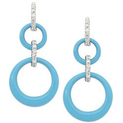 Turquoise Circle Earrings with CZ in Sterling Silver