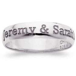 Sterling Silver Laser Top-Engraved Name/Message Band