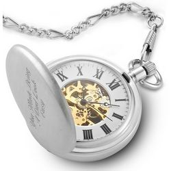 Two Tone Skeleton Pocket Watch