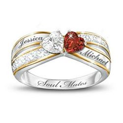 Two Hearts Become One Soul Mates Personalized Ring