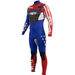 4/3mm Men's Chest Zip Flag Design Team Wetsuit