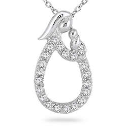 Mother and Baby Diamond Pendant in 10K White Gold