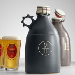 Monogrammed Black Growler
