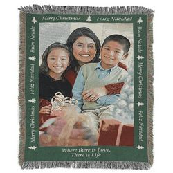 Portrait Merry Christmas Photo Blanket with Green Border
