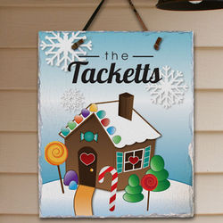 Personalized Gingerbread House Slate Plaque