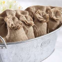 Burlap Flower Favor Bags