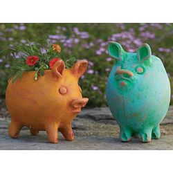 2 Terra Cotta Pig Flower Pots