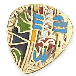 Mayan Calendar Brass Guitar Pick