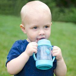 4 oz Glass Sip 'n Straw Cup in Aqua