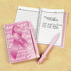Pink Ribbon Spiral Notebook and Pen Set
