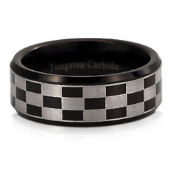 Mens Checkerboard Black Tungsten Carbide Ring