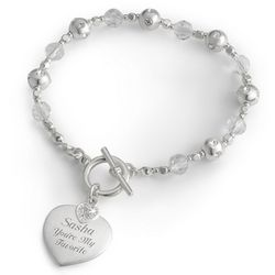 Crystal Bracelet with Heart Charm