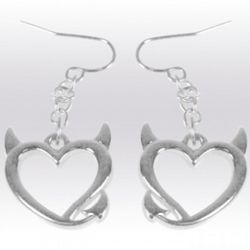 Bad Girls Club Devil Heart Silver Earrings