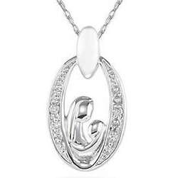 Mother and Baby Diamond Pendant in 14K White Gold