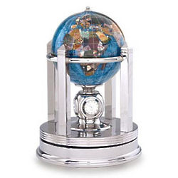 Gemstone Globe with Timepiece and Stand
