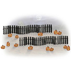Rickety Fence and Jack O' Lantern Halloween Village Accessories