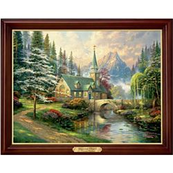 Thomas Kinkade Dogwood Chapel Illuminating Canvas Print
