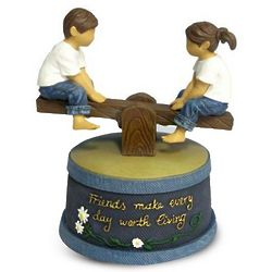 Friends Make Every Day Worth Living Musical Figurine