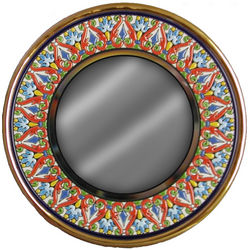 Handmade Spanish Gilt-Edged Ceramic Mirror