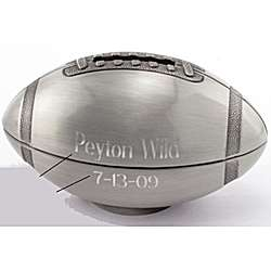 Personalized Pewter Finish Football Bank