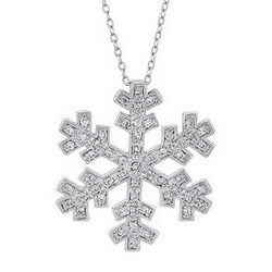 Sterling Silver Cubic Zirconia Accent Snowflake Pendant Necklace