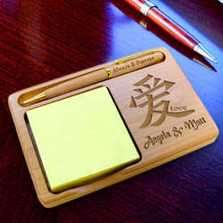 Personalized Chinese Symbol Wooden Notepad & Pen Holder