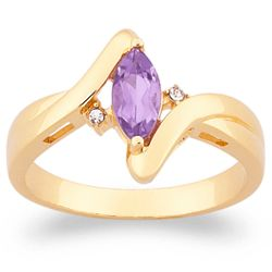 Genuine Marquise Amethyst and Crystal Accent Ring