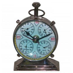 Nickel Desk Clock with 5 Faces