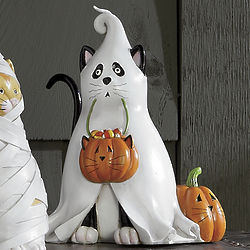 Costumed Cat Ghost Kitty Figurine