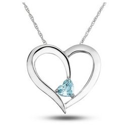 Sterling Silver Daughter's Birthstone Heart Necklace