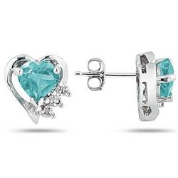 Aquamarine and Diamond Heart Earrings in White Gold