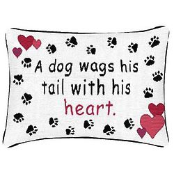 Dog Wags His Tail with His Heart Pillow