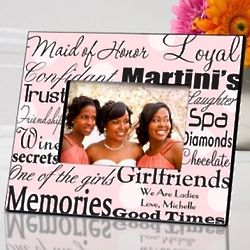 Personalized Pink Dots Maid of Honor Picture Frame