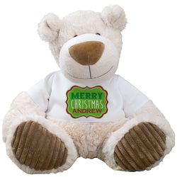 Merry Christmas Latte Teddy Bear in Personalized T-Shirt