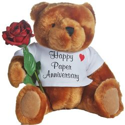 1st Anniversary Teddy Bear with Rose