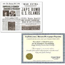Tragic Events in History Newspaper Replica Set