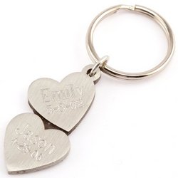 Engravable Double Heart Pewter Key Chain