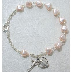 Deluxe Youth Pink Heart Rosary Bracelet