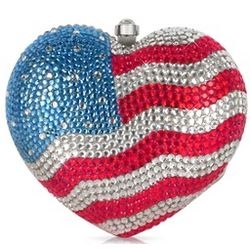 US Flag Crystal Jeweled Heart Clutch