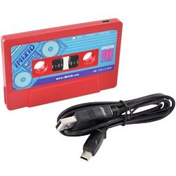 Red Cassette Tape 3 Port USB Hub with Mini Cable