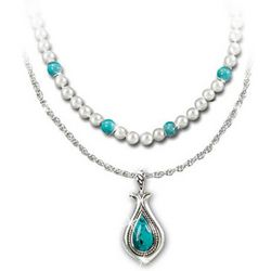 Trio of Turquoise Genuine Cultured Freshwater Pearl Necklaces
