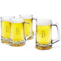 Engraved Initial Beer Glasses