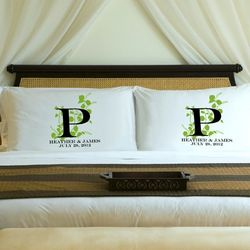 Nature's Bliss Personalized Couples Pillow Case Set